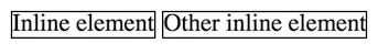 Example of inline elements, next to each other (even if the code is on separate lines).